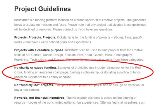 kickstarter guidelines including caveat for nonprofits